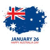 Happy Australia Day, january 26 greeting card with brush stroke in colors of the australian national flag. Vector Illustration Royalty Free Stock Images