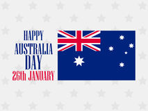 Happy Australia day 26 january. Text with Australia flag pattern for greeting card. Vector Stock Photo