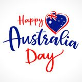 Happy Australia Day lettering and heart emblem. Flag of Australia with heart shape and calligraphy Happy Australia Day on white background. Vector illustration vector illustration