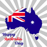 Happy Australia day lettering. Map of Australia with flag on a rays background. Happy  Australia day lettering. Map of Australia with flag on a rays background Royalty Free Stock Photography