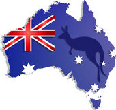 Happy Australia day lettering. Map of  with flag on a blue background Royalty Free Stock Photography