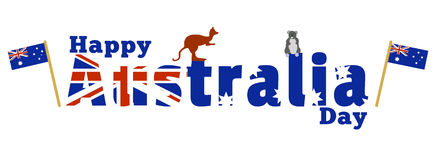 Happy Australia Day. A logo with the Australian flag and iconic Australian Animals (Kangaroo and Koala)