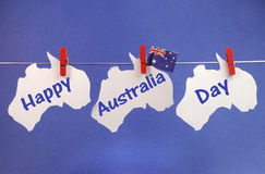 Happy Australia Day message greeting written acros. Celebrate Australia Day holiday on January 26 with a Happy Australia Day message greeting written across Royalty Free Stock Image