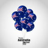 Happy Australia day 26 january festive background. Happy Australia Day with National Flag Ballons, Confetti.26 January Festive.Template for Postcard Design Stock Photography
