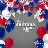 Happy Australia day 26 january festive background. Happy Australia Day with National Flag Colors Buntings,Ballons, Confetti.26 January Festive.Template for Royalty Free Stock Image