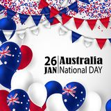Happy Australia day 26 january festive background. Happy Australia Day with National Flag Colors Buntings,Ballons, Confetti.26 January Festive.Template for Royalty Free Stock Photography