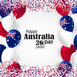 Happy Australia day 26 january festive background. Happy Australia Day with National Flag Colors Buntings,Ballons, Confetti.26 January Festive.Template for Royalty Free Stock Photos