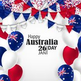 Happy Australia day 26 january festive background. Happy Australia Day with National Flag Colors Buntings,Ballons, Confetti.26 January Festive.Template for Royalty Free Stock Photo