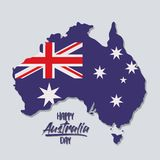 Happy australia day poster with australia map with flag of australia day in light blue background. Vector illustration Royalty Free Stock Photography