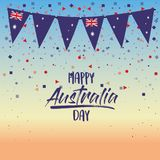 Happy australia day poster with dawn sky scene background with colorful festoons and confetti Royalty Free Stock Photo
