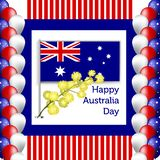 Happy Australia Day poster. festive wreath with flowers and acacia leaves vector illustration