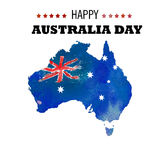 Happy Australia day poster. Map of Australia with flag on a blue. Watercolor background Stock Photos