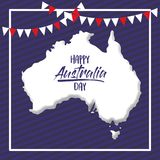 Happy australia day poster with white frame and australian map over dark blue background. Vector illustration Stock Image