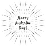 Happy Australia Day text with sun rays linear background. Vector card design with custom calligraphy Stock Photography