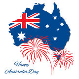 Happy Australia Day vector design. Map of  with flag. Greeting inscription and fireworks. Usable for   card, banner Royalty Free Stock Images