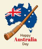 Happy Australia Day vector design. National flag in the form of a map. Greeting inscription and traditional musical instrument cal. Led didgeridoo. Usable for Royalty Free Stock Image