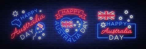Happy Australia on January 26, a set of festive elements in the neon style. Collection of neon signs, ribbon with. National colors. Layout of the template for Royalty Free Stock Photography