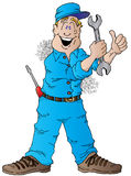 Happy Auto Mechanic. Cartoon of a Happy Auto Mechanic With a Wrench Stock Photos