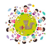 Happy autumn. Bright background with funny animals and happy kids which are on the ground round.  Stock Photography