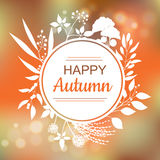 Happy Autumn card design. With a textured abstract background and text in round floral frame, vector illustration. Lettering design element Stock Images