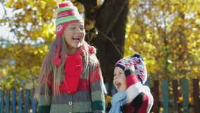 Happy autumn children in the forest Park stock video