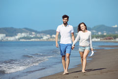 Happy autumn fall couple showing with outstretched arms Stock Photography