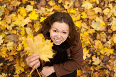 Happy autumn girl. Stock Images