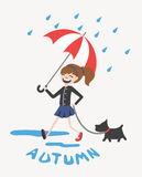 Happy autumn girl with umbrella and dog vector Stock Photography