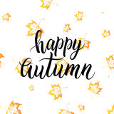 Happy autumn lettering with orange leaves. Happy autumn lettering with orange autumn leaves isolated on white background - hand painted text on yellow leaf maple Stock Photos