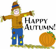 "Happy Autumn Scarecrow. Colorful illustration of a happy smiling scarecrow in patched clothes standing in a harvest field of pumpkins with text ""happy autumn!"" Stock Image"