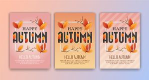 Happy Autumn Season`s Greetings Card Background. Design. Size 5x7 inches for Print Media. Vector illustration Stock Photography