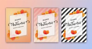 Happy Autumn Season`s Greetings Card Background. Design. Size 5x7 inches for Print Media. Vector illustration Stock Images