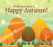 Happy autumn, thanksgiving color changing trees ca. This is a vector file for holiday season, Thanks giving or happy autumn time. You can easily adjust the file stock illustration