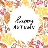 Happy autumn vector background. Fall banner. Poster Royalty Free Illustration
