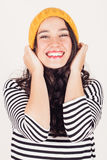 Happy autumn or winter girl with wool cap Stock Images