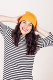 Happy autumn or winter girl with wool cap Royalty Free Stock Image