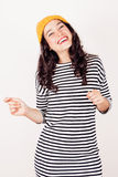 Happy autumn or winter girl with wool cap Stock Photo