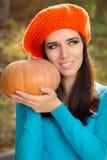 Happy Autumn Woman Holding Pumpkin Royalty Free Stock Photo