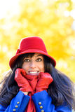Happy autumn woman shivering Stock Images