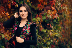 Happy Autumn Woman Wearing Colorful Ethnic Vest Stock Image