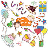 Happy B-day!. Collection of the colored stickers with many things for celebration of birthday and party Royalty Free Stock Photo