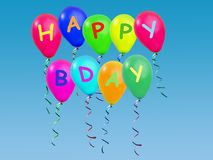 Happy b-day greetings balloons Stock Photos