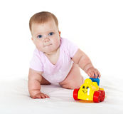 Happy babe with toy. Stock Photography
