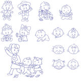 Happy Babies. Hand drawn doodle sketches of babies and toddlers vector illustration