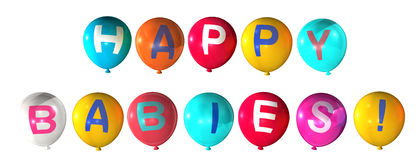 Happy babies. Word on abstract balloons Stock Photo