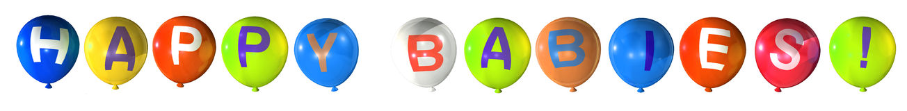 Happy babies. Word on abstract balloons Vector Illustration