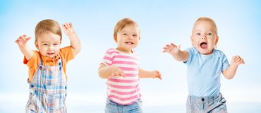 Happy Babies, Dancing Toddler Kids Group, Funny Children royalty free stock image
