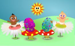 Happy babies with flowers and eggs on sunny Easter Royalty Free Stock Image
