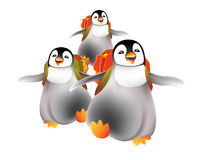 Happy babies penguins going back to nursery royalty free stock photography
