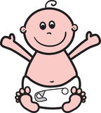 Happy Baby. Cute simple baby in nappy stock illustration